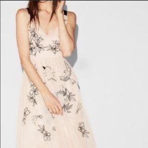 Express Blush Pink Tulle Midi Dress